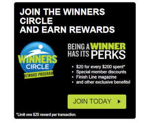 Get Deal Become a member of the Finish Line Winner's Circle Reward Program and get a Finish Line coupon worth $20 every time you spend $ Take $10 Off with Code. Take $10 Off with Code. October Coupon Codes for Finish Line $10 off $+ code $15 off $+ code 15SPOOKY Shop -> Show Coupon Code.